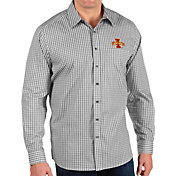 Antigua Men's Iowa State Cyclones Structure Button Down Long Sleeve Black Shirt