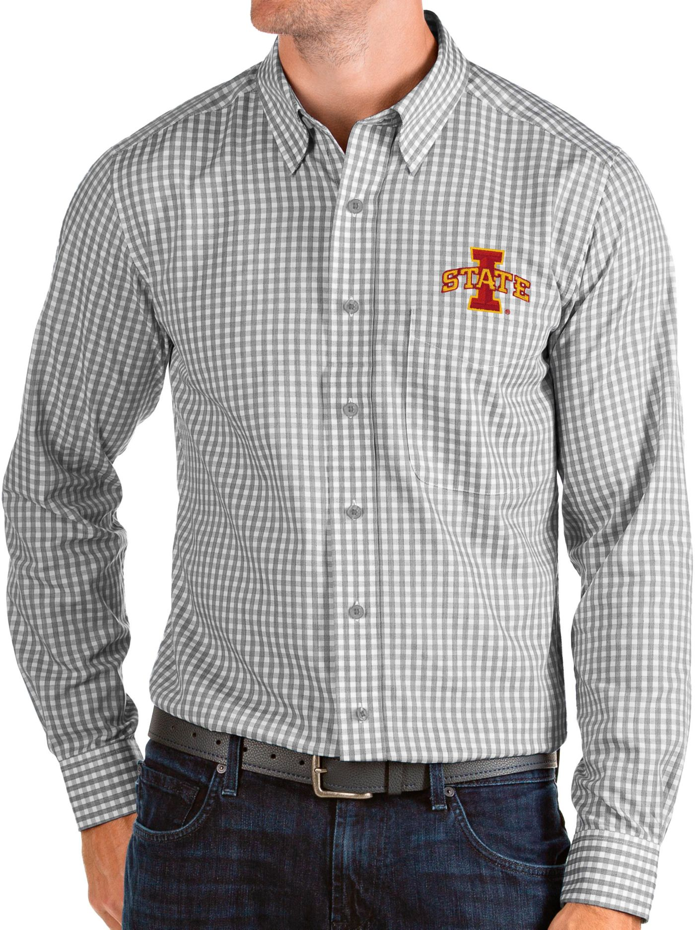 Antigua Men's Iowa State Cyclones Grey Structure Button Down Long Sleeve Shirt