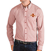 Antigua Men's Iowa State Cyclones Cardinal Structure Button Down Long Sleeve Shirt