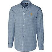 Cutter & Buck Men's West Virginia Mountaineers Blue Stretch Gingham Long Sleeve Shirt