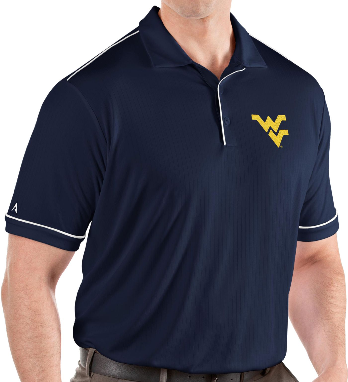 Antigua Men's West Virginia Mountaineers Blue Salute Performance Polo