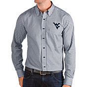 Antigua Men's West Virginia Mountaineers Blue Structure Button Down Long Sleeve Shirt