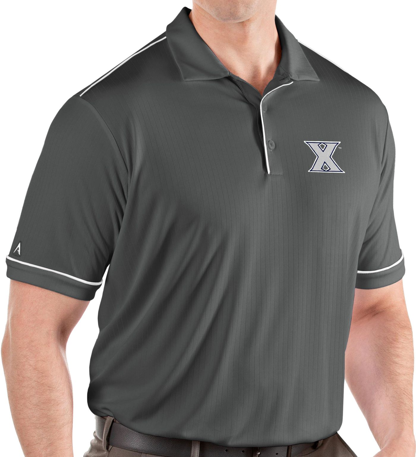 Antigua Men's Xavier Musketeers Grey Salute Performance Polo
