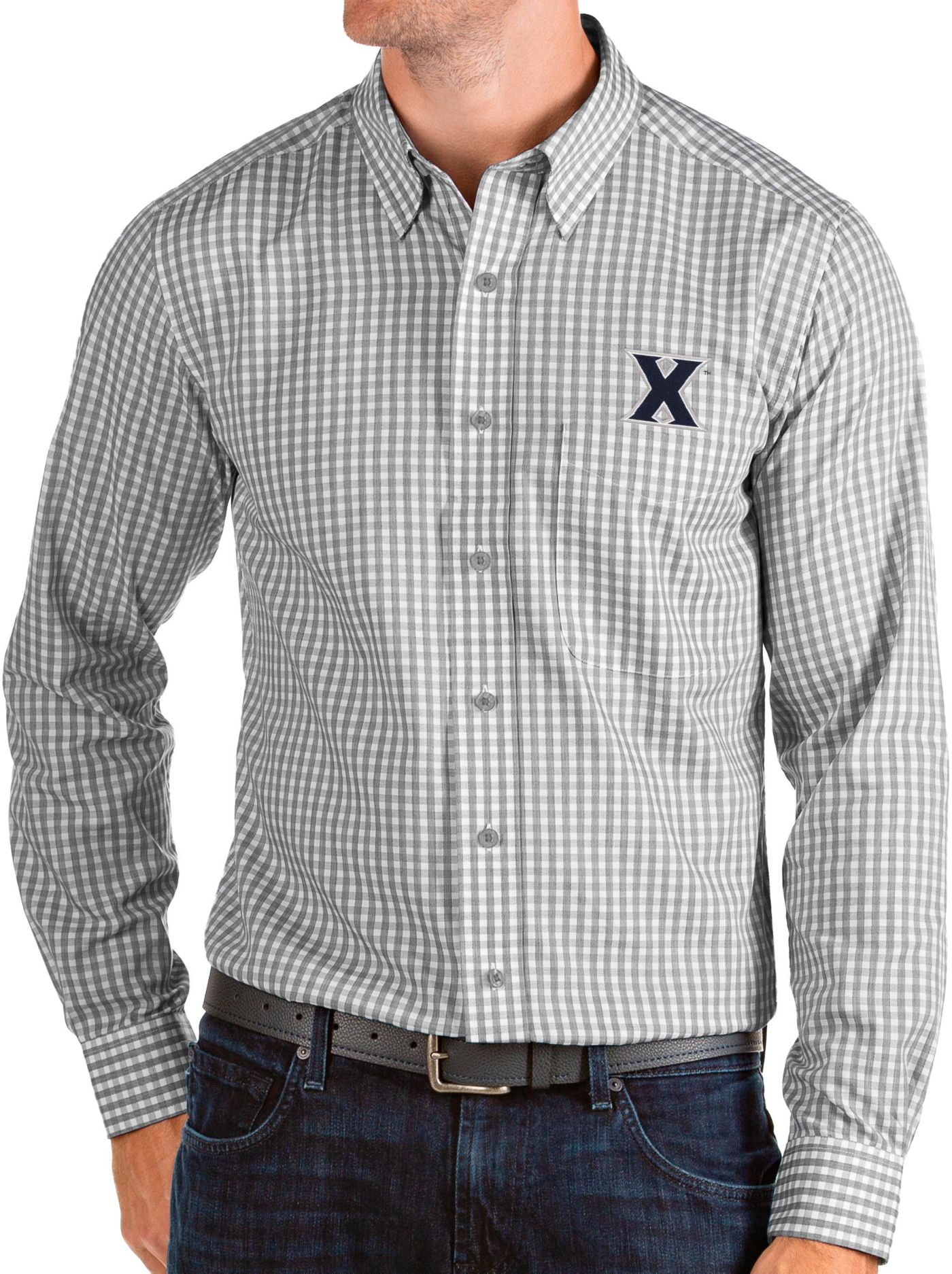 Antigua Men's Xavier Musketeers Grey Structure Button Down Long Sleeve Shirt