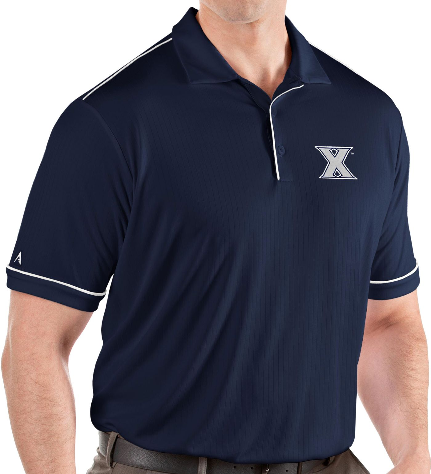 Antigua Men's Xavier Musketeers Blue Salute Performance Polo