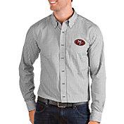 Antigua Men's San Francisco 49ers Structure Button Down Grey Dress Shirt