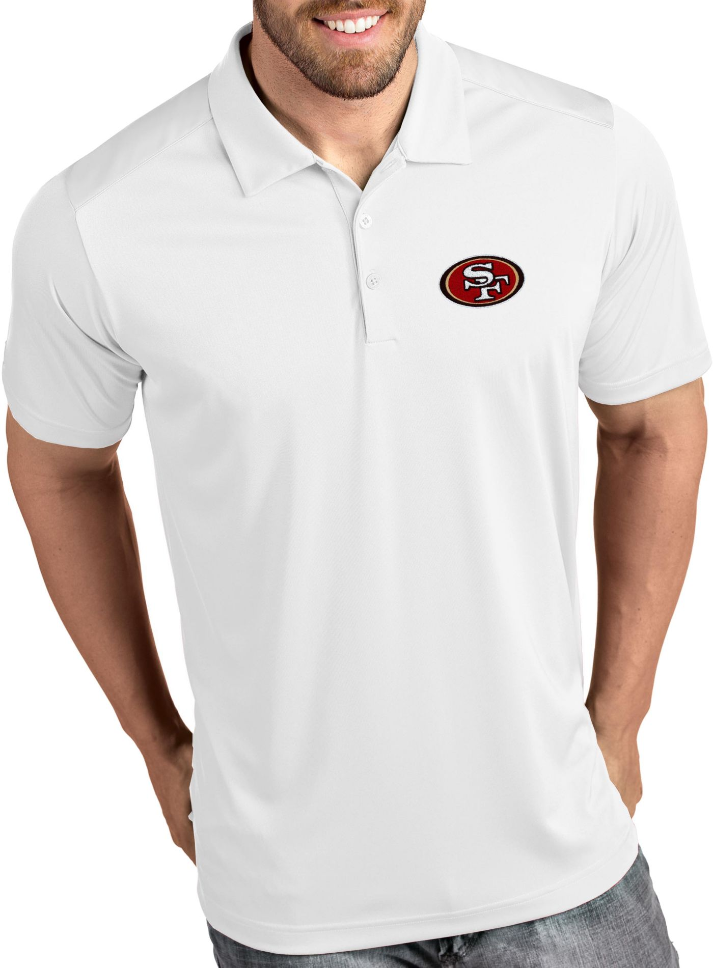 Antigua Men's San Francisco 49ers Tribute White Polo