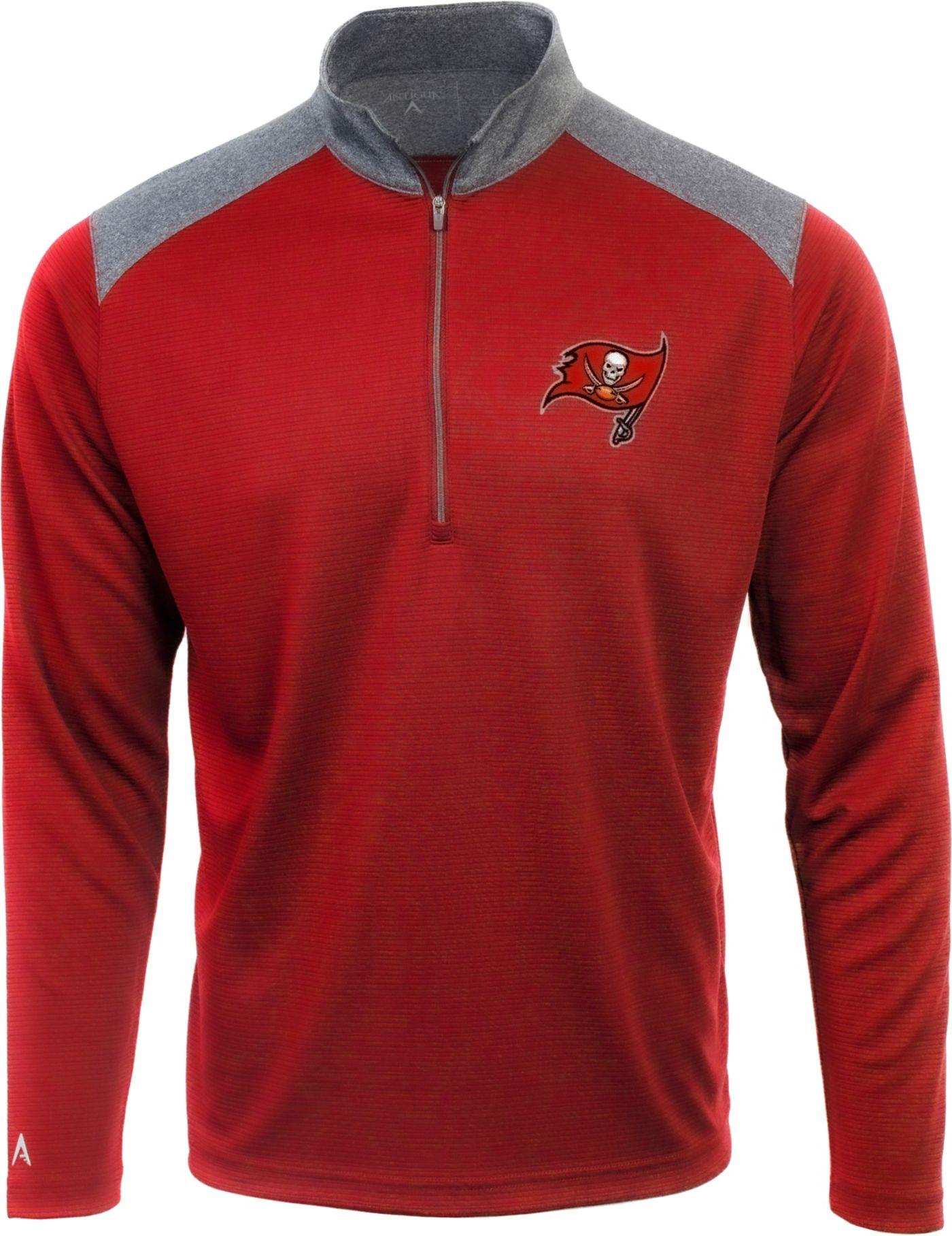 Antigua Men's Tampa Bay Buccanneers Velocity Red Quarter-Zip Pullover