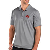 Antigua Men's Tampa Bay Buccaneers Balance Grey Polo