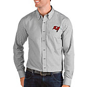 Antigua Men's Tampa Bay Buccaneers Structure Button Down Grey Dress Shirt