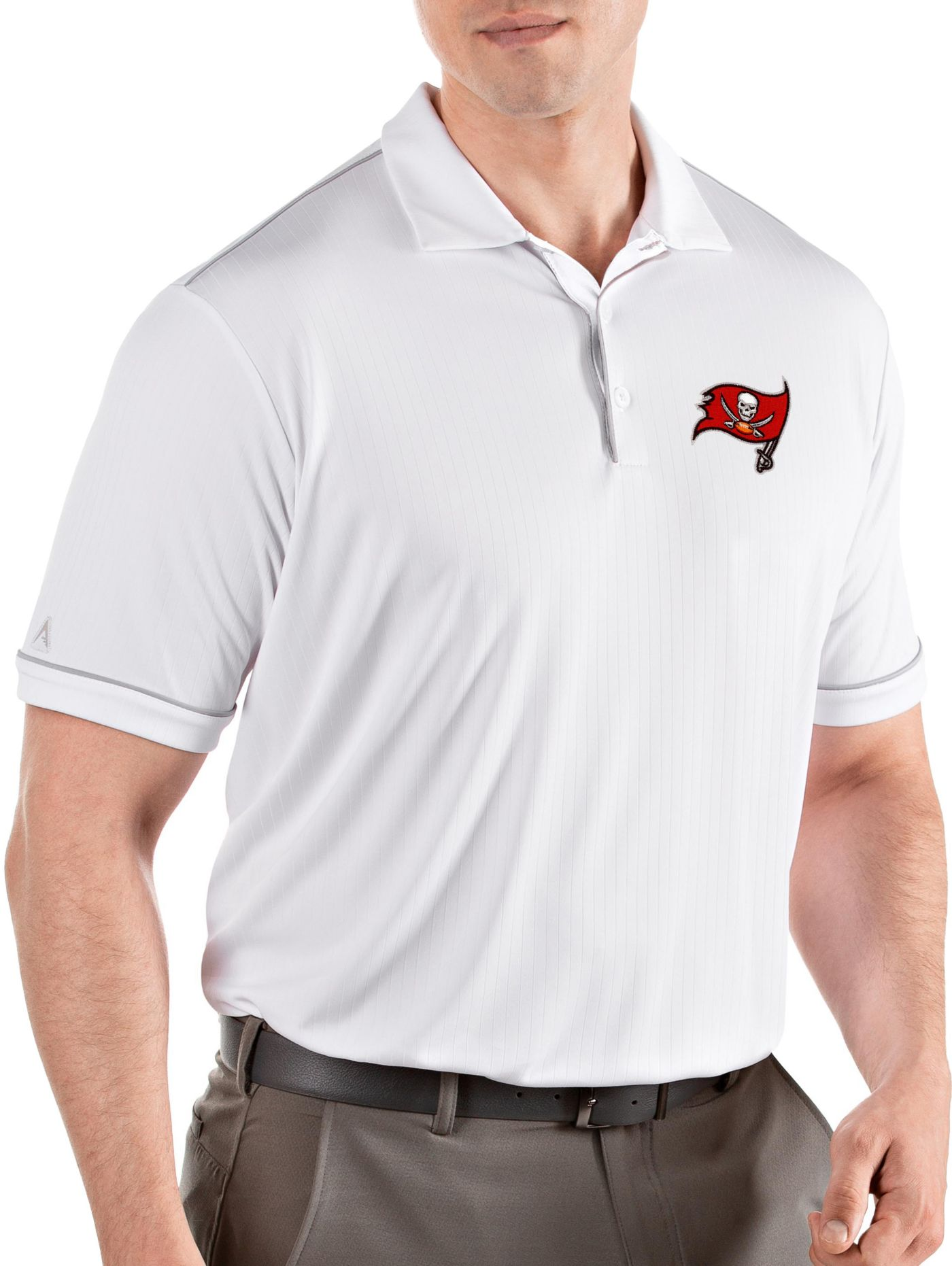Antigua Men's Tampa Bay Buccaneers Salute White Polo