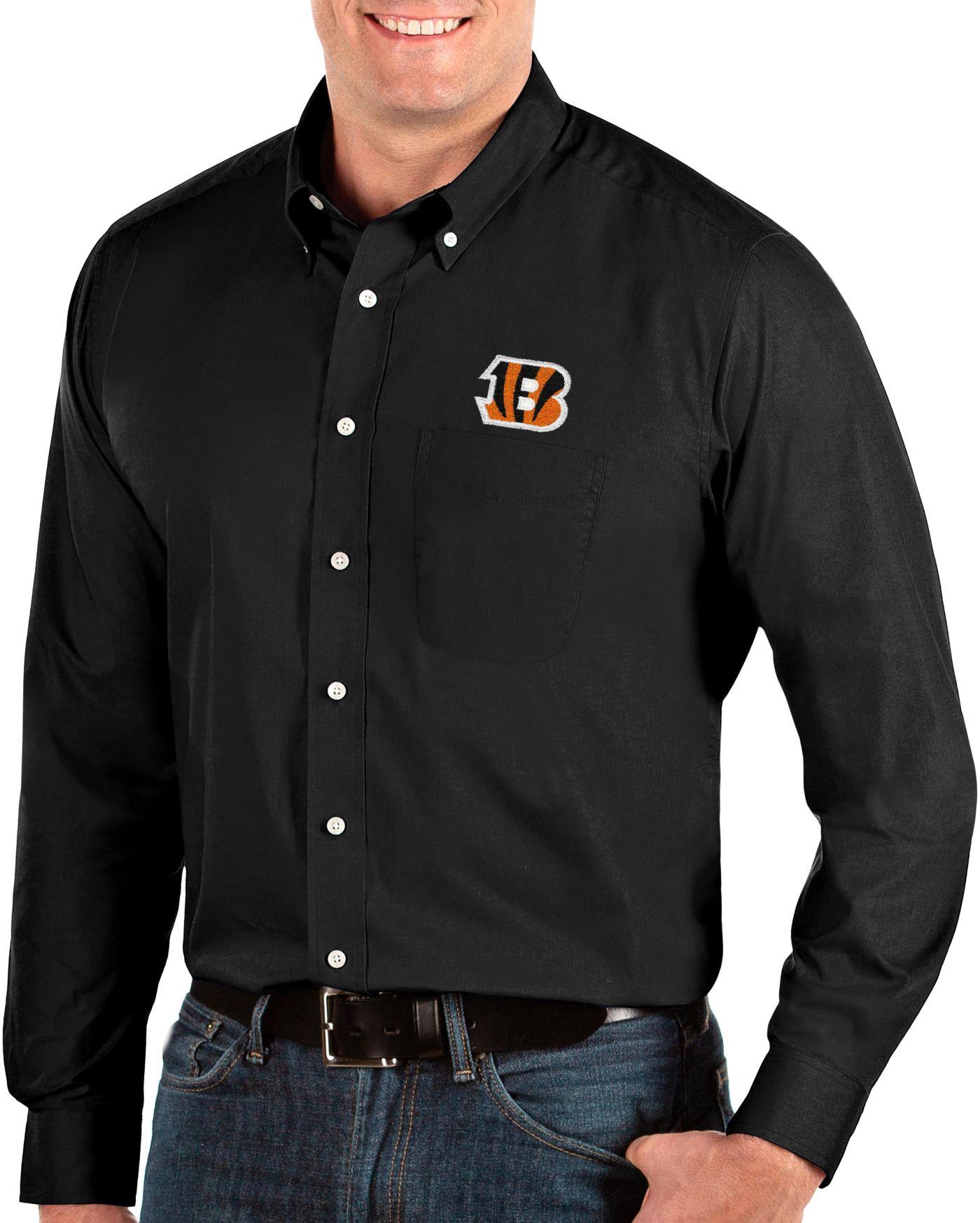 Antigua Men's Cincinnati Bengals Dynasty Button Down Black Dress Shirt