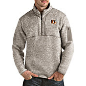 Antigua Men's Cincinnati Bengals Fortune Quarter-Zip Oatmeal Pullover