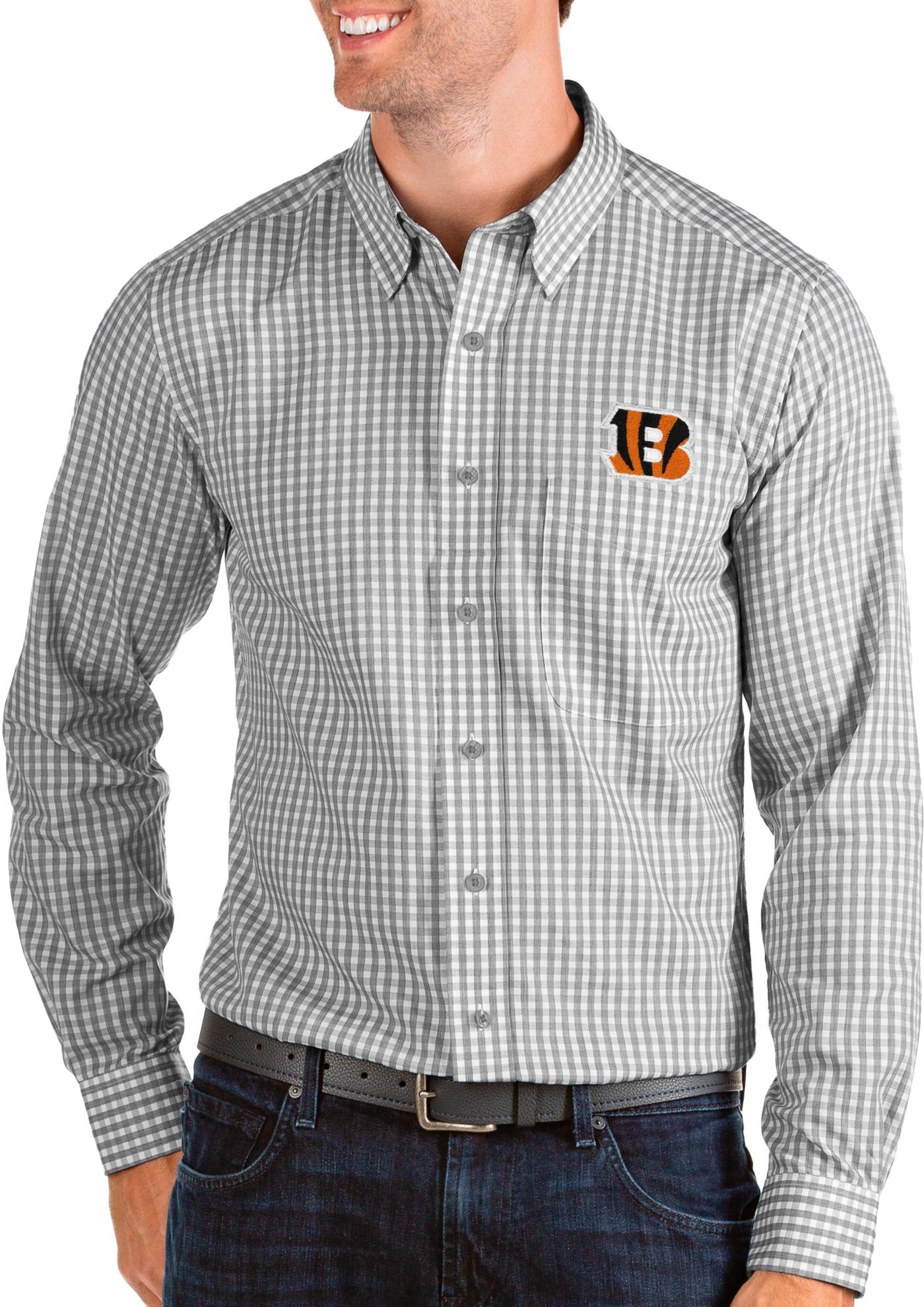 Antigua Men's Cincinnati Bengals Structure Button Down Grey Dress Shirt