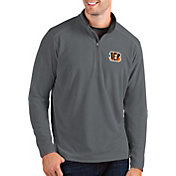 Antigua Men's Cincinnati Bengals Glacier Grey Quarter-Zip Pullover