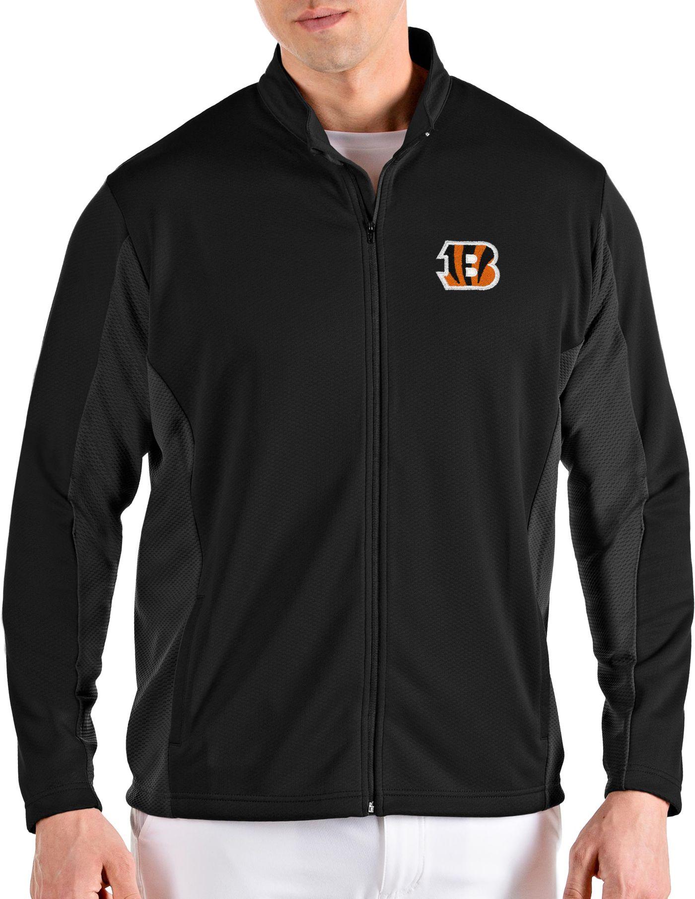 Antigua Men's Cincinnati Bengals Passage Black Full-Zip Jacket