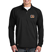 Antigua Men's Cincinnati Bengals Sonar Black Quarter-Zip Pullover