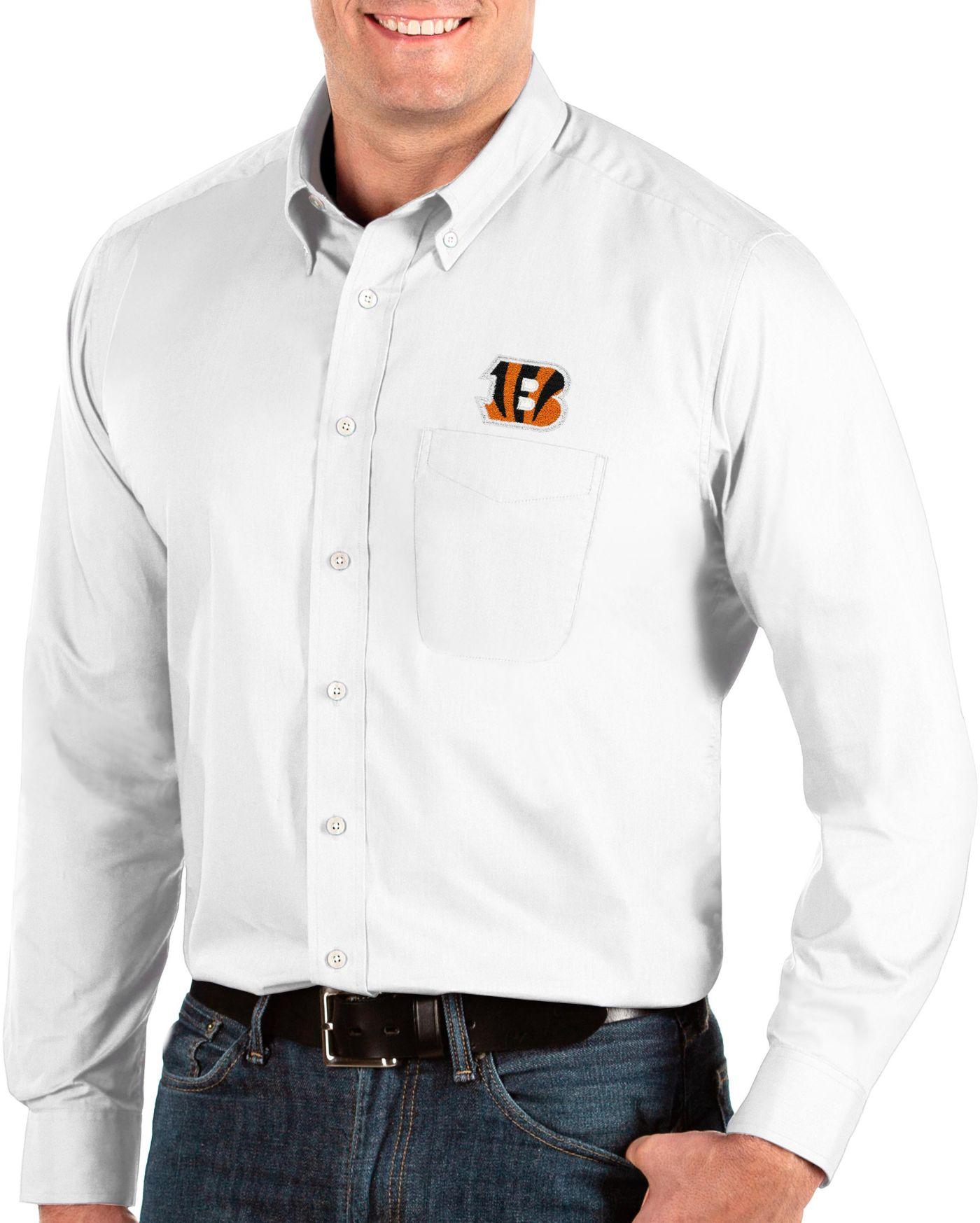 Antigua Men's Cincinnati Bengals Dynasty Button Down White Dress Shirt