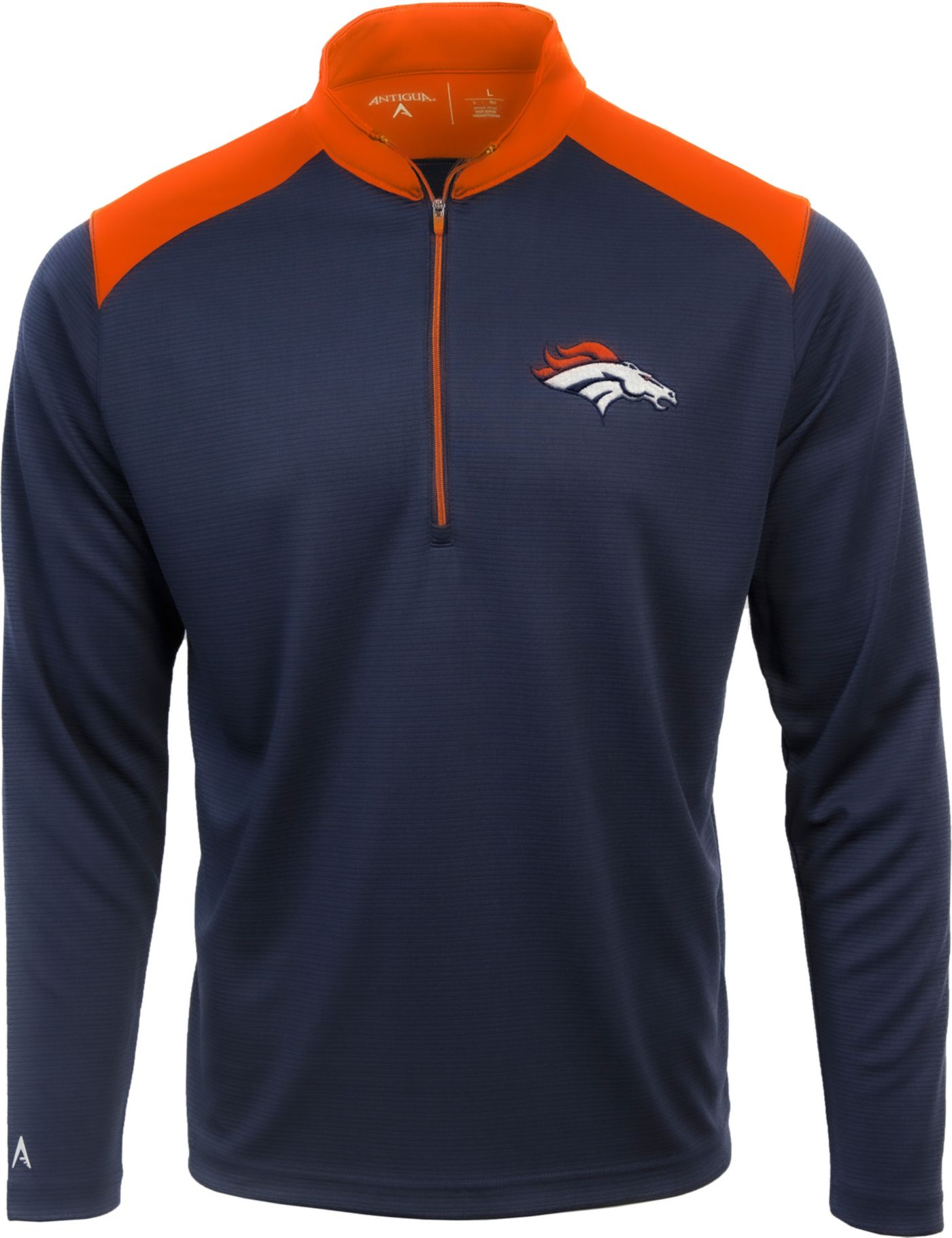 Antigua Men's Denver Broncos Velocity Navy Quarter-Zip Pullover