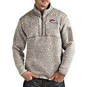 Antigua Men's Denver Broncos Fortune Quarter-Zip Oatmeal Pullover