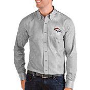 Antigua Men's Denver Broncos Structure Button Down Grey Dress Shirt