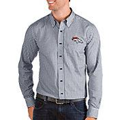 Antigua Men's Denver Broncos Structure Button Down Navy Dress Shirt
