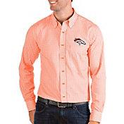 Antigua Men's Denver Broncos Structure Button Down Orange Dress Shirt