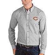 Antigua Men's Chicago Bears Structure Button Down Grey Dress Shirt