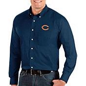 Antigua Men's Chicago Bears Dynasty Button Down Navy Dress Shirt