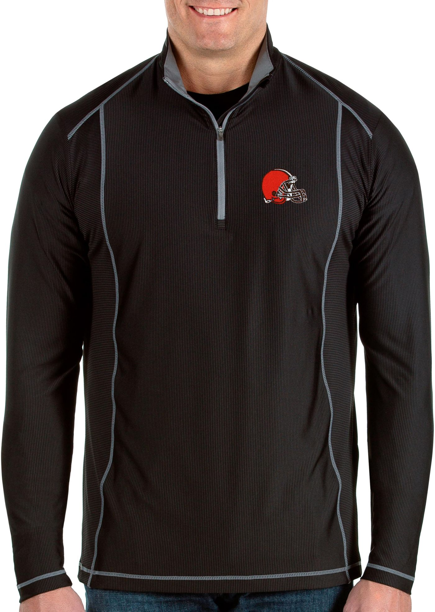 Antigua Men's Cleveland Browns Tempo Black Quarter-Zip Pullover