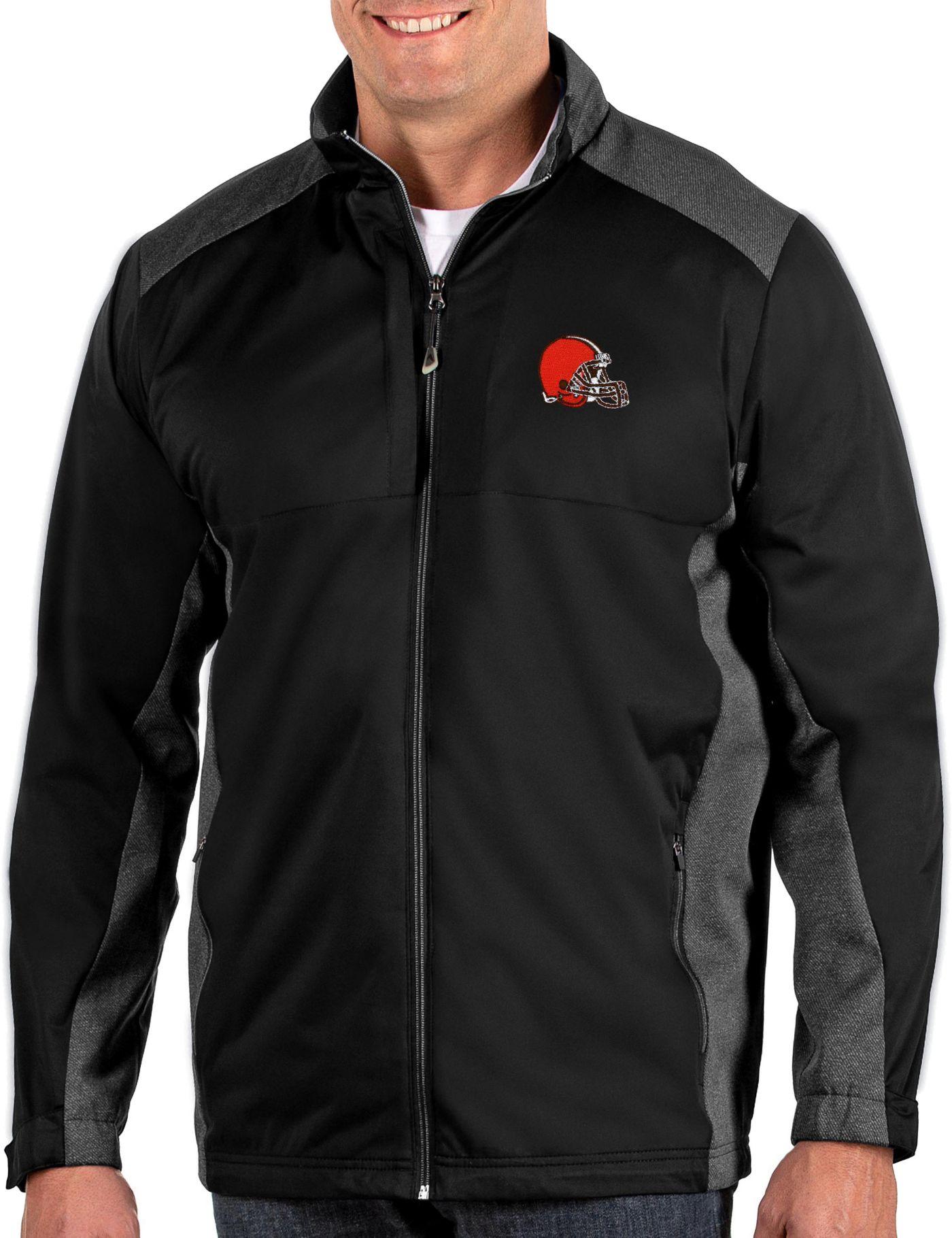 Antigua Men's Cleveland Browns Revolve Black Full-Zip Jacket