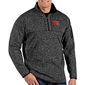 Antigua Men's Cleveland Browns Fortune Black Quarter-Zip Pullover