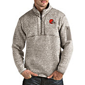 Antigua Men's Cleveland Browns Fortune Quarter-Zip Oatmeal Pullover