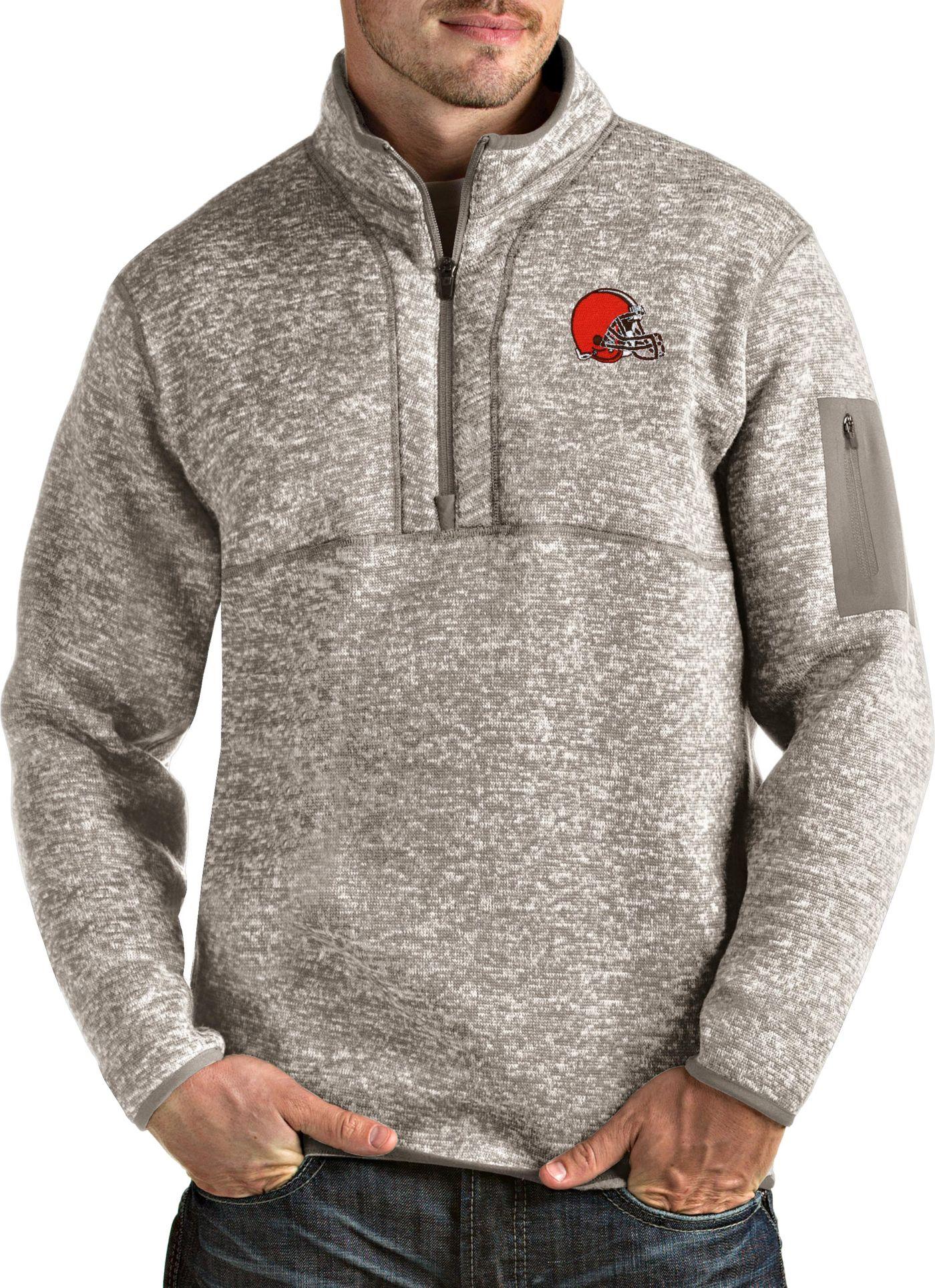 Antigua Men's Cleveland Browns Fortune Quarter-Zip Oatmeal Pullover