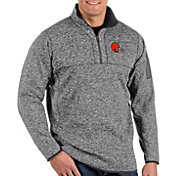 Antigua Men's Cleveland Browns Fortune Grey Quarter-Zip Pullover