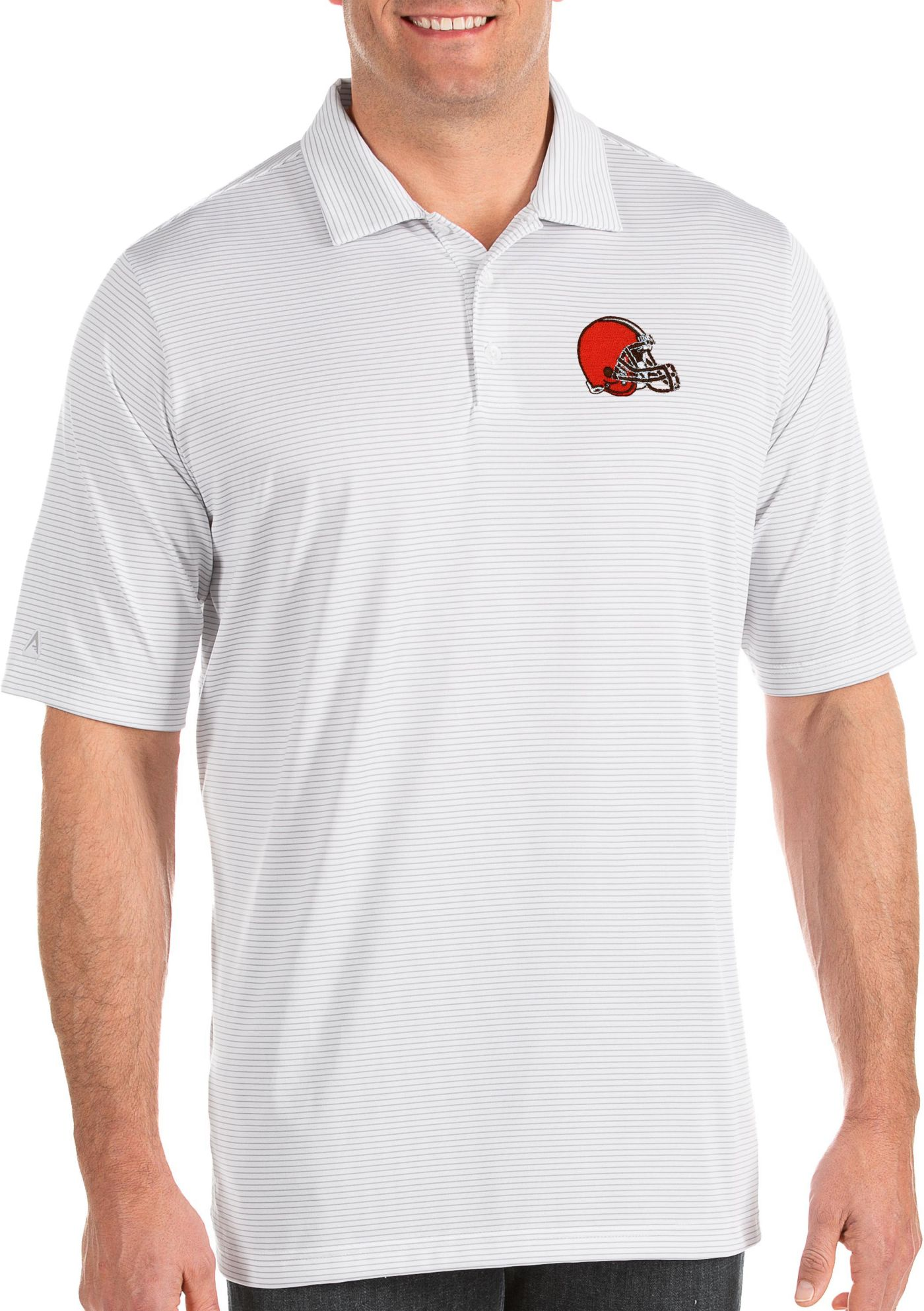 Antigua Men's Cleveland Browns Quest White Polo