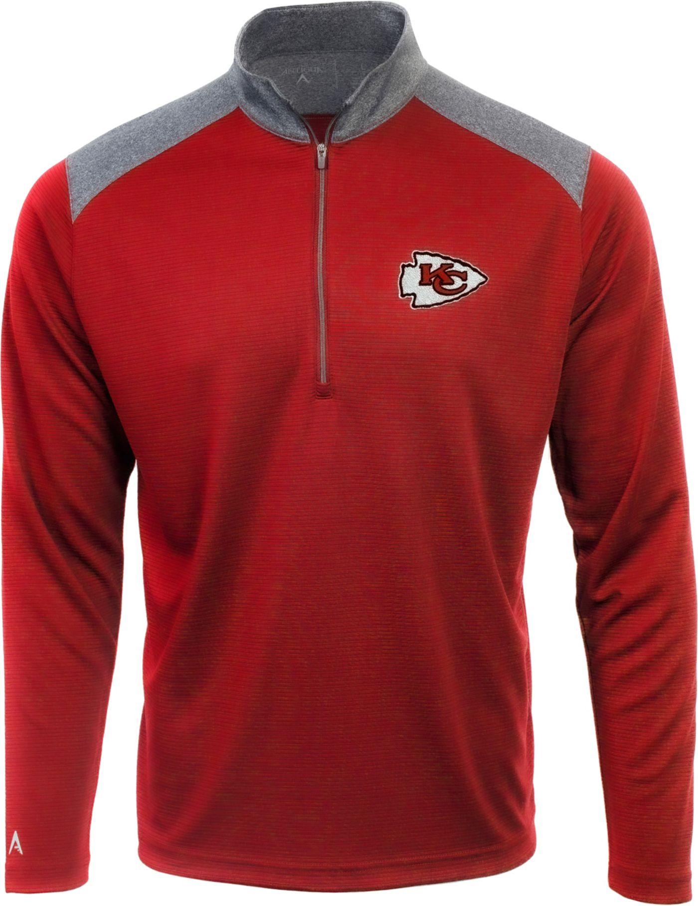 Antigua Men's Kansas City Chiefs Velocity Red Quarter-Zip Pullover