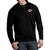 Antigua Men's Kansas City Chiefs Leader Quarter-Zip Black Pullover Top