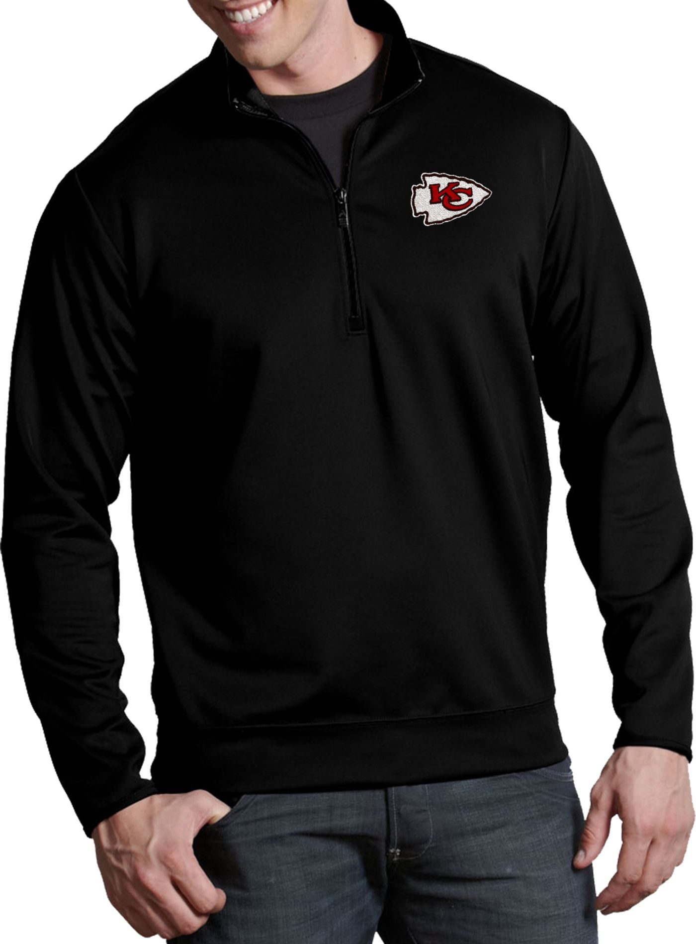 Antigua Men's Kansas City Chiefs Leader Quarter-Zip Black Pullover Top