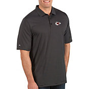 Antigua Men's Kansas City Chiefs Quest Black Polo