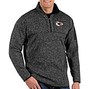Antigua Men's Kansas City Chiefs Fortune Black Quarter-Zip Pullover