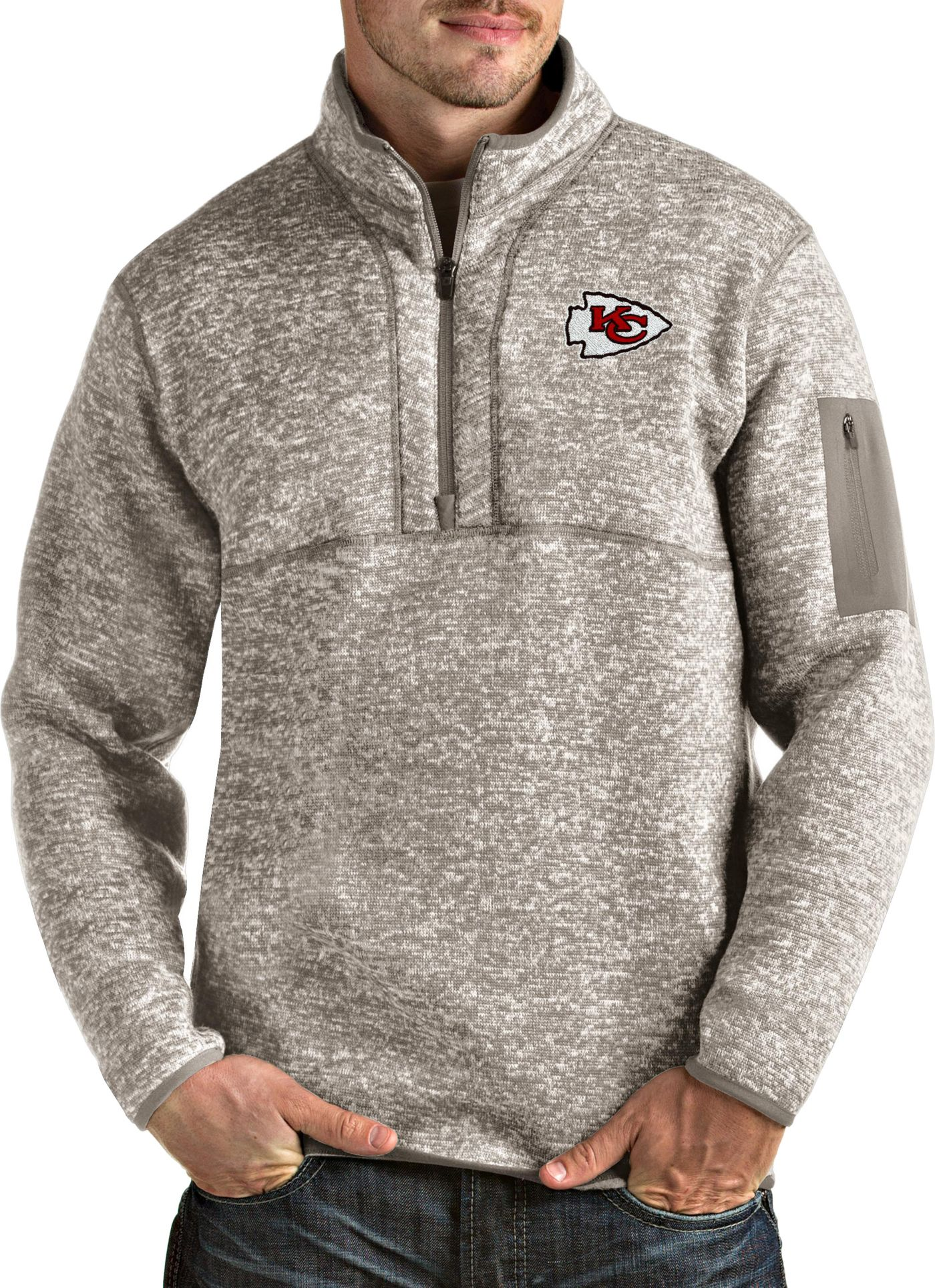 Antigua Men's Kansas City Chiefs Fortune Quarter-Zip Oatmeal Pullover