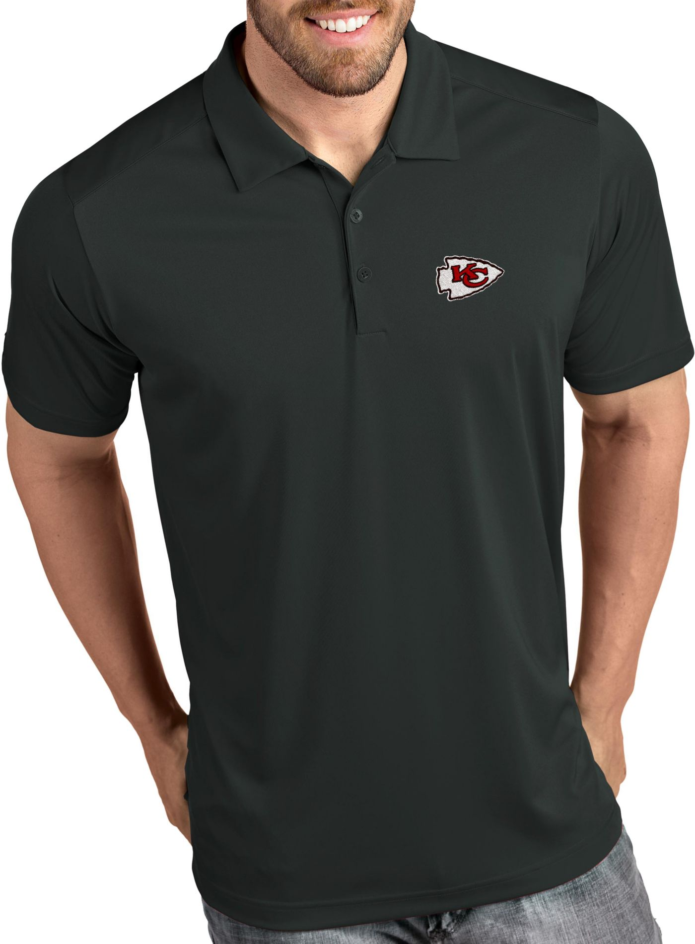 Antigua Men's Kansas City Chiefs Tribute Grey Polo