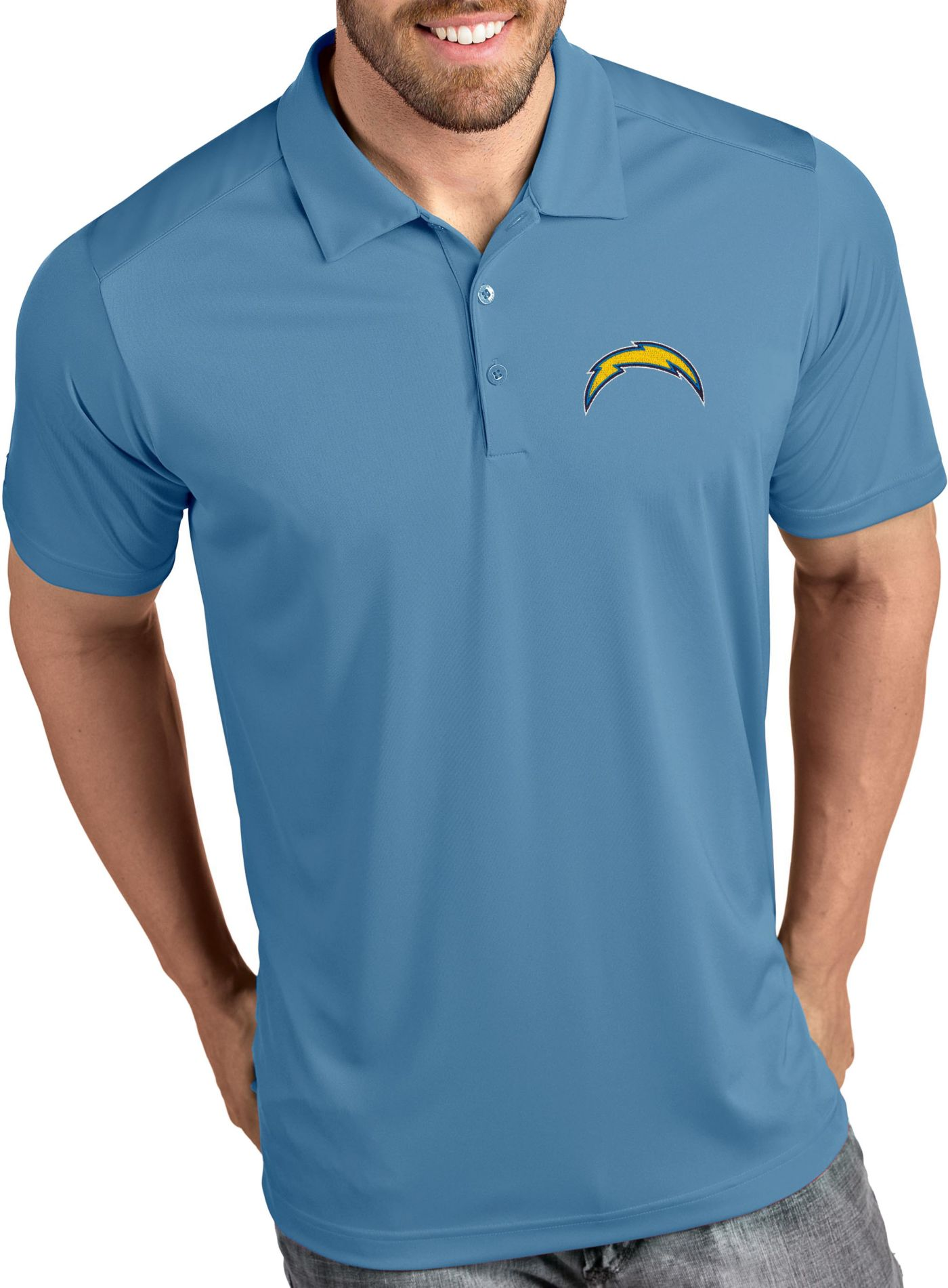 Antigua Men's Los Angeles Chargers Tribute Blue Polo