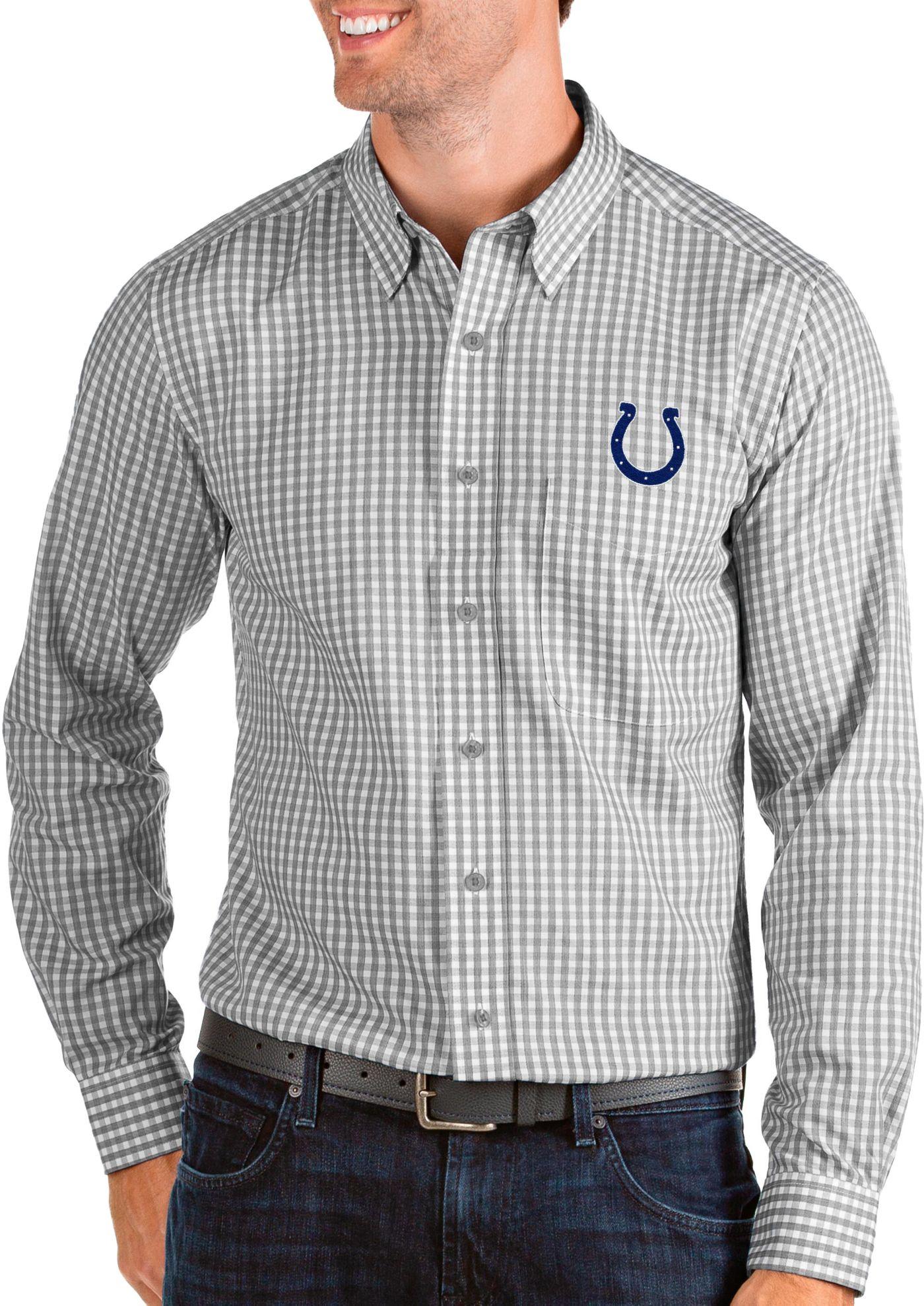 Antigua Men's Indianapolis Colts Structure Button Down Grey Dress Shirt