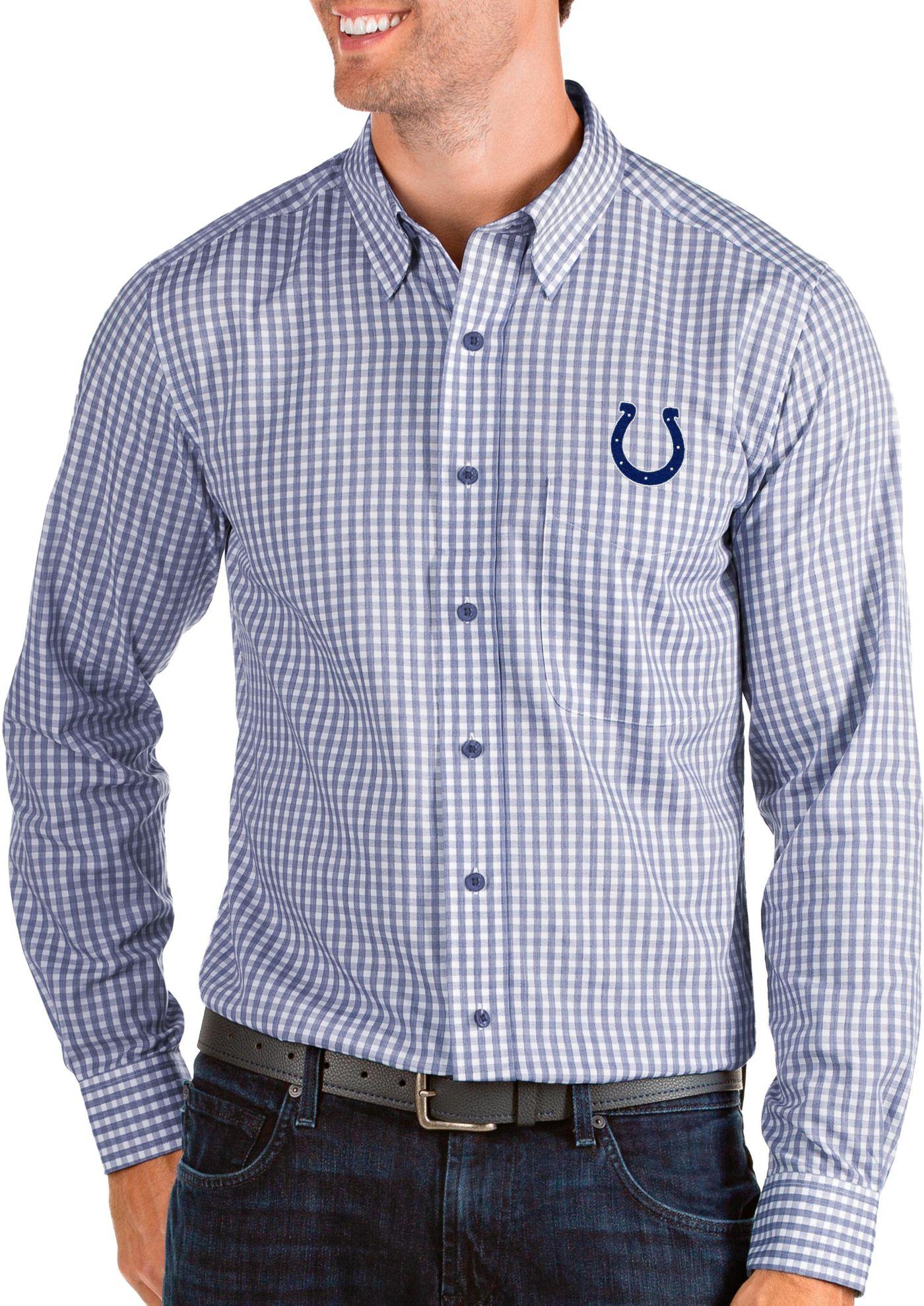 Antigua Men's Indianapolis Colts Structure Button Down Royal Dress Shirt