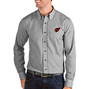Antigua Men's Arizona Cardinals Structure Button Down Black Dress Shirt