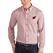 Antigua Men's Arizona Cardinals Structure Button Down Red Dress Shirt