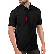 Antigua Men's Arizona Cardinals Kickoff Woven Black Collared T-Shirt