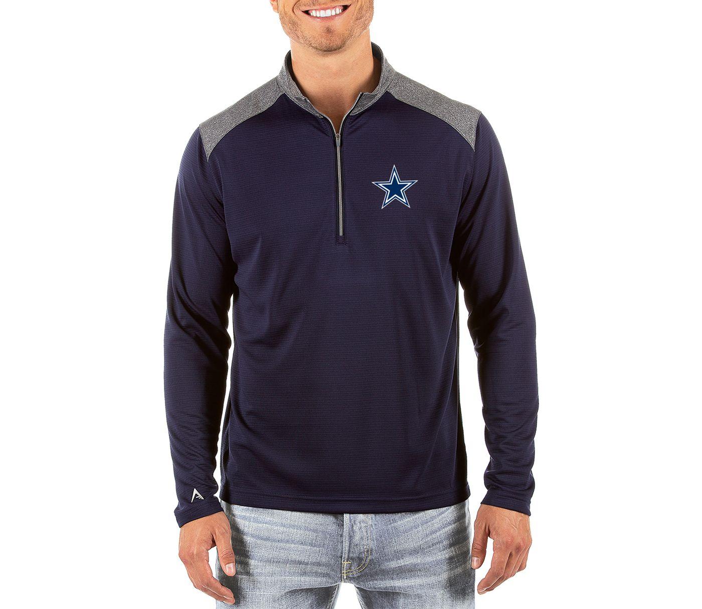 Antigua Men's Dallas Cowboys Velocity Navy Quarter-Zip Pullover